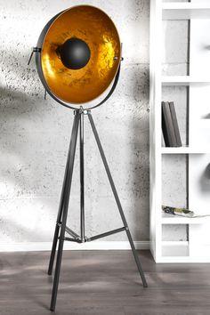 Moderne Design Stehlampe STUDIO schwarz gold Lampe Blattgold  bei www.riess-ambiente.de