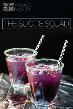 01206010 I am SUPER excited to see Suicide Squad – in theaters August 5th! So excited that this Purple Joker cocktail would be a perfect drink to have for it! Here's everything you need to make it. Serving size is 1 8oz glass! You'll also need a bar shaker and a couple of shallow plates. Be …
