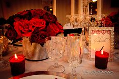 #Centerpiece #diamonds #flowers #red #silver #tabledecor #wedding  | CT Floral and Event Design | PerfectPrincessEvents.com