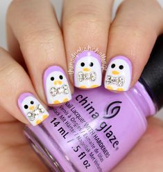 Cute Penguin Nail Art (with 3D bows!) - The Nail Polish Challenge