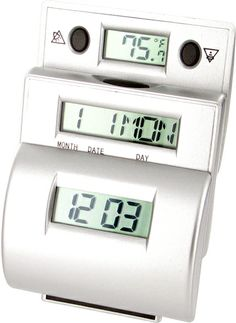 @ShopAndThinkBig.com - The Ladder Travel Alarm Clock With Fahrenheit Temp Has Three Built-In Lcds Displaying The Time, Calendar And Temperature. Simply Press The Button On Top Of The Unit, The Middle And Back Body Will Raise Up Automatically To Transform The Unit Into Ladder Form Of Viewing Manner. This Compact, Lightweight, Space-Saving Clock Is Ideal For Traveling. Makes A Great Business Give-Away Or Gift Basket Item…