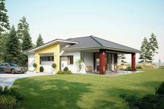 Fertighaus Architektenhaus Comfort, Bungalow mit Pultdach für barrierefreies Wohnen