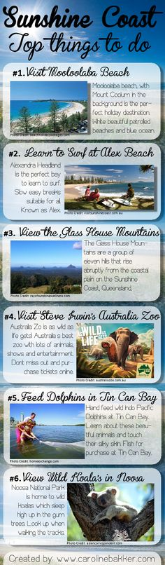 #Sunshine Coast Top Things To Do Today I have created an infographic kind of image to show you the best #Queenland's Sunshine Coast has to offer. I am a local on the Coast and love the life, the na