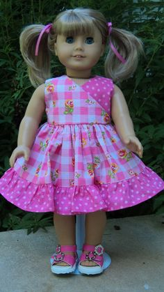 American Girl doll clothes -  Pink Checkered Dress & Sandals. $18.00, via Etsy.