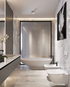 On a budget bathroom design ideas. Every bathroom remodel starts with a design suggestion. From complete master bathroom restorations, smaller sized visitor bath remodels, and also bathroom remodels of all sizes. Luxury Master Bathrooms, Chic Bathrooms, Dream Bathrooms, Beautiful Bathrooms, Master Baths, Small Bathrooms, Glamorous Bathroom, Luxurious Bathrooms, Modern Bathroom Design
