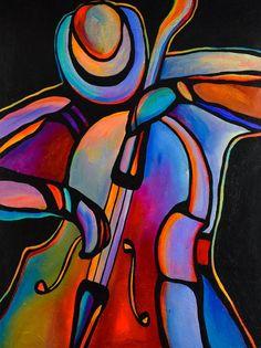 "30 ""x Original Acrylic Painting Abstract Jazz Musician Art Bass Player by Mike Daneshi Jazz Painting, Cubism Art, Jazz Art, Music Artwork, Arte Pop, Painting Techniques, Saatchi Art, Art Prints, Acrylic Paintings"