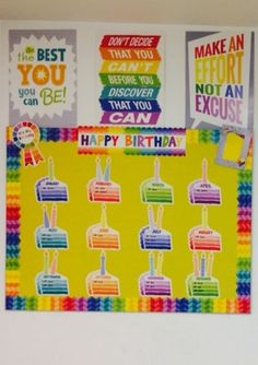 Celebrate birthdays with the Painted Palette Happy Birthday Mini Bulletin Board and add some extra color with borders and Inspire U posters. Thank you Utah Idaho Supply for this idea!