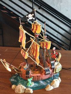 DISNEY PETER PAN JOLLY ROGER LIGHT UP PIRATE SHIP FIGURINE RARE ITEM #44581 in Collectibles, Disneyana, Contemporary (1968-Now) | eBay