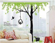 Wall Decal Vinyl - Tree Birds n Grass / Wall Decals Wall Sticker Wall Decor $65