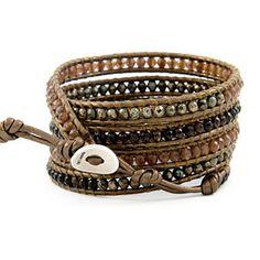 Chan Luu Multi Stone Wrap Bracelet on Kansa Leather