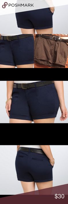 TORRID sz 26 Belted Sateen Shorts NWTS💋💋. Torrid size 26 belted sateen shorts constructed with stretchy and sheeny morel green sateen, these shorts have us making a break for spring. With deeper pockets and a cuffed him the shorts have a longer length so you can stay covered and comes with a cool perforated belt  that is totally adjustable. 5 inch inseam cotton spandex blend size 26 waist 52 inches, hips 64 inches . torrid Shorts Bermudas