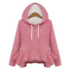 Wholesale Stylish Long Sleeves Solid Color Flounce Hoodie For Women Only $10.27 Drop Shipping | TrendsGal.com