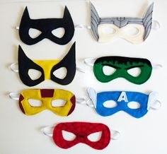 Super Hero Party Masks with PDF templates, super cute! MAKING THESE! Yes, Jackson will love them! :)