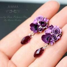 Pin by ^_^ on Polymer clay Polymer Clay Kunst, Fimo Clay, Polymer Clay Projects, Clay Beads, Polymer Clay Flowers, Polymer Clay Earrings, Crea Fimo, Polymer Clay Embroidery, Biscuit