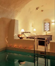 gorgeous inside pool in a hotel room, Santorini, Greece