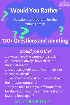 """Would you rather questions that the whole family can enjoy! Hard, funny, weird, and all appropriate for the family. """"Would You Rather"""" is a great game for so many reasons. By asking each other weird and unusual things..."""