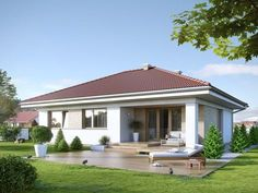 Houses by Biuro Projektów MTM Styl - domywstylu. House Outside Design, House Front Design, Small House Design, Bungalow Haus Design, Modern Bungalow House, One Level House Plans, Best House Plans, House Design Pictures, Beautiful House Plans