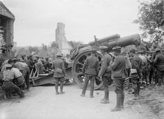 MINISTRY INFORMATION FIRST WORLD WAR OFFICIAL COLLECTION (Q 2233) Moving an 8 inch Mark V Howitzer into a new position during an advance; Decordel, 26 May 1917.