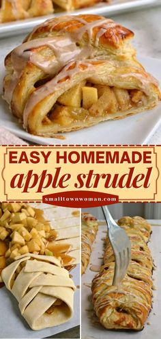 Here's another fall recipe you will love! Made with puff pastry and finished off with cinnamon glaze, this German Apple Strudel is sure to become a favorite easy breakfast idea. Save this pin! Puff Pastry Apple Pie, Puff Pastry Desserts, Puff Pastry Recipes, Puff Pastries, Apple Desserts, Apple Recipes, Fall Recipes, Dessert Recipes, Yummy Recipes