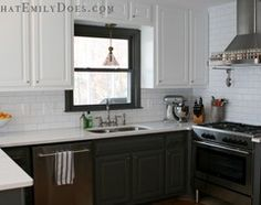 Black Bottom And White Top Kitchen Cabinets take down a few of the upper kitchen cabinets | designstiles