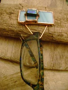 Eye Glass Holder Pin Blue Stained Glass by StewArtStuff on Etsy