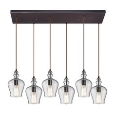 @Overstock - Elk Lighting 'Menlow Park' Oil-rubbed Bronze 6-light Pendant - Classic shapes of days gone by are reinvented in this contemporary Menlow Park six-light pendant. Each beautiful clear glass shade houses a glowing light, suspended in a linear pattern from a beautiful oil-rubbed bronze frame.  http://www.overstock.com/Home-Garden/Elk-Lighting-Menlow-Park-Oil-rubbed-Bronze-6-light-Pendant/9316416/product.html?CID=214117 $948.00