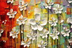 ORIGINAL gran colorido abstracto flores blancas por ModernHouseArt