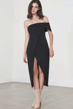 Asymmetric Wrap Over Dress in Black