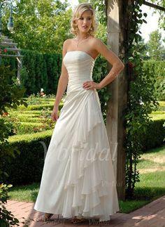Wedding Dresses - $172.99 - A-Line/Princess Strapless Floor-Length Chiffon Taffeta Wedding Dress With Cascading Ruffles (00205001853)