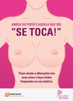Cartaz para ser colado no banheiro feminino, parte da campanha de Outubro Rosa contra o câncer de mama para o cliente Queiroz Galvão Exploração e Produção.