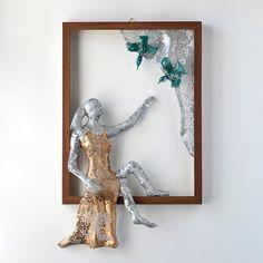 Framed art - women sculpture - Wire mesh sculpture - wall decor - Metal wall art - Home decor - Wire mesh sculpture -Contemporary art  This unique