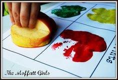 The Moffatt Girls: Apple Crafts and MORE! i love how to cut the apple to stamp it better K Crafts, Preschool Crafts, Crafts For Kids, Fall Crafts, Preschool Ideas, Holiday Crafts, Apple Activities, Teaching Activities, Preschool Activities