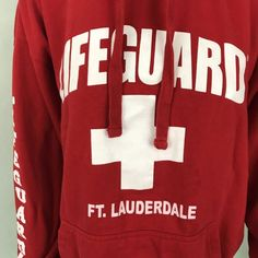 Adult Red Lifeguard Products Ft. Lauderdale Beach Hoodie Jacket Size Medium | eBay