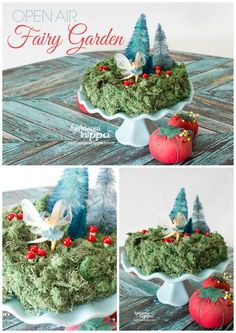 How to make an open air Fairy Garden using a Smoothfoam Disc as a base and moss. moss is messy but this is a way to enjoy moss without a big mess. Check out the post for a video tutorial and full supply list. You can make this in less than one hour! Smoothfoam Fairy Garden Collage JPriest Hydrangea Hippo