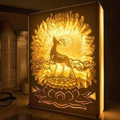 Papercut Light Boxes, Shadow Box Led Decorative Mood Light Bedroom Table Lamp, night light lamp of Creative Light Paintings (Elk) 3d Paper Art, Paper Crafts, Xmas Crafts, Fun Crafts, Paper Cutting, Diy Shadow Box, Upcycled Crafts, Diy Home Decor Projects, Box Art