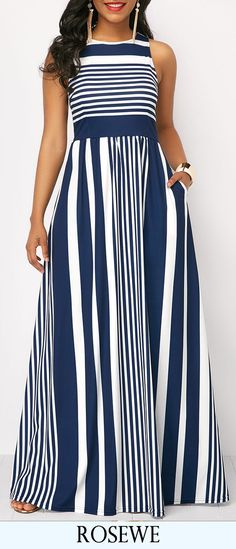 High Waist Stripe Print Sleeveless Maxi Dress