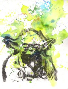 Yoda Star Wars Art Watercolor Painting  Fine Art print by idillard, $18.00...getting for sons room. :)