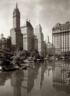 View across New York City's Central Park Lake, 1933.