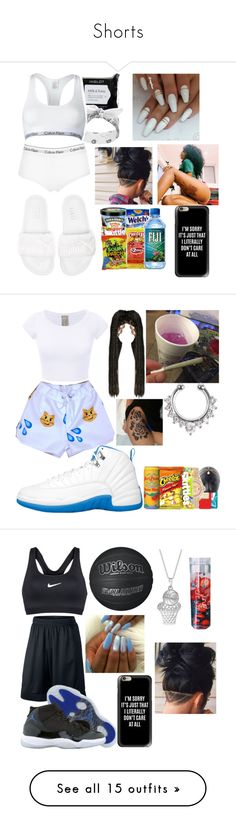 """""""Shorts"""" by ivory715 ❤ liked on Polyvore featuring Puma, Calvin Klein Underwear, Casetify, NIKE, Retrò, Valentino, Ray-Ban, WithChic, My Mum Made It and MAC Cosmetics"""