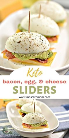 #ketorecipes Easy Keto Appetizer Bacon Egg and Cheese Sliders #EggDietOnly Low Carb Keto, Low Carb Recipes, Cooking Recipes, Healthy Recipes, Diet Recipes, Vegetarian Recipes Dinner, Dessert Recipes, Low Carb Food, Low Carb Sushi