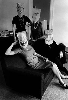 The brown paper bag party. Mask Series with Saul Steinberg Photographed by Inge Morath, Saul Steinberg, The New Yorker, Luba Lukova, Old Photos, Vintage Photos, Vintage Art, Vintage Photography, Art Photography, Inge Morath