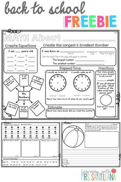 BACK TO SCHOOL freebie  math about me, writing activity, new school year goals