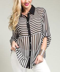 This Black & White Stripe Button-Up Top by Buy in America is perfect! #zulilyfinds