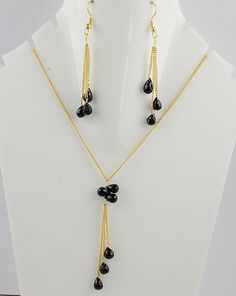 """Black Spinel Hanging Drops Shape Approx 5x7-7x9mm Necklace And Earring 18"""" Long #RAAGARW"""