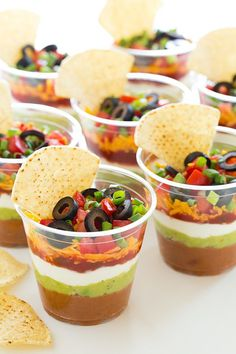 Individual 7 Layer Bean Dips - Good bye sloppy scooping and double dippers. Love these individual servings!