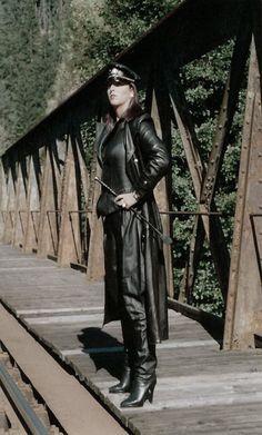 In fetish coat Women domination leather