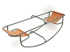 Toy - A children's seesaw ; Green tubular steel body with brown canvas seats. Playground Design, Outdoor Playground, Children Playground, Metal Furniture, New Furniture, Vintage Toys, Retro Vintage, Seesaw, Diy Home Improvement