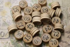 5 Antique Lotto Game Wooden Number Tokens by CaityAshBadashery on Etsy