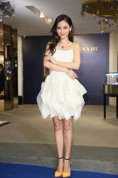 Pin for Later: Angelababy Is a Chinese Superstar Who Could Give Kim Kardashian a Lesson in Style Ruffles Are Feminine, but You Can Make Them More Mature With Striking Heels