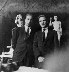 Raymond Coxon and Henry Moore standing in front of their clay figures, Leeds College of Art (Henry Moore: Sculptural Process and Public Identity) | Tate